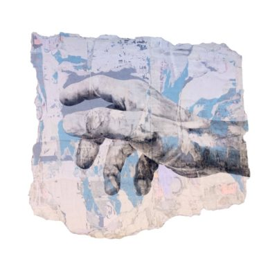Main bleue - dessin sur dos de mur affiche-114 x 127 cm