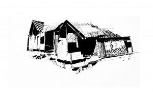 Cabanon 69x47 pierre noire sur papier