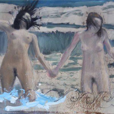 Fabien-Boitard-Baigneuses--Occitanes,-2017,-Huile-sur-toile,-139X189-cm