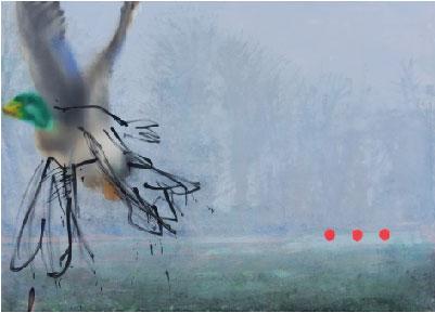 Canard 3 Points 2014, Huile sur toile 139 x 200 cm