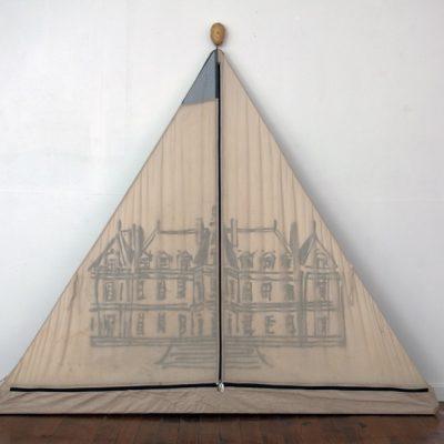 tente château n°2, 2011, huile sur toile, 100X230 cm