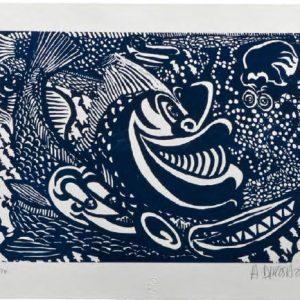 Hervé di Rosa Poissons sétois, monochrome, 2014format du papier : 52,5 × 37,5 cmformat de la matrice : 40 × 29,3 cm