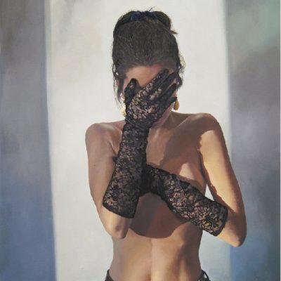 K. Bourdarel -Les gants#1- 2016- huile sur toile-92x60cm