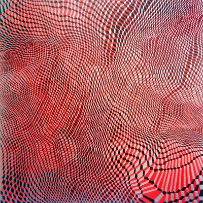 Hex Grid Red #8, 2015, Acryl et graphite sur toile, 90cm x 90cm