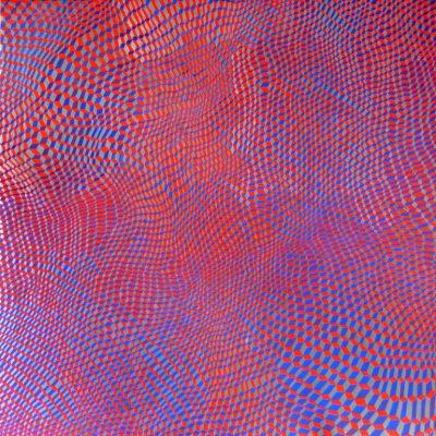 Hex Grid Red/Blue #1, 2016, Acryl et graphite sur toile, 95cm x 95cm