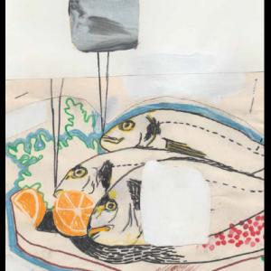 Vanité d'élevage (les dorades (royales))., technique mixte sur papier, 29,7 x 21 cm, 2017