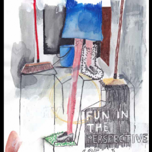 Fun in the Perspective, technique mixte sur papier, 29,7 x 21 cm, 2013