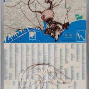 Bd Carte MiiaR ,2004, 94,5x55,5cm, feutre sur carte sous verre