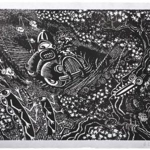 Hervé di Rosa En traversant le pont, noir, 2014format du papier : 76 × 56 cmformat de la matrice : 70 × 50 cmnumérotés de 1/40 à 40/40