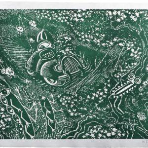 Hervé di Rosa En traversant le pont, vert, 2014format du papier : 76 × 56 cmformat de la matrice : 70 × 50 cmnumérotés de 1/40 à 40/40
