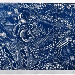 Hervé di Rosa En traversant le pont, bleu, 2014format du papier : 76 × 56 cmformat de la matrice : 70 × 50 cmnumérotés de 1/40 à 40/40