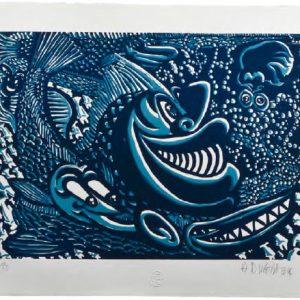 Hervé di Rosa Poissons sétois, camaïeu, 2014format du papier : 52,5 × 37,5 cmformat des matrices : 40 × 29,3