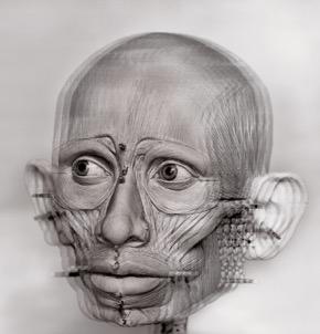 E. Daynes - Human II, 2015 - réseau lenticulaire, système Alioscopy-130 x 95 x 7 cm - Ecorche Pataud