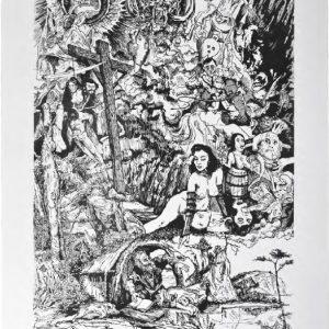 Jean-Marie Picard Tentation de saint Antoine, 2014 format du papier : 50 × 65 cm format de la matrice : 40 × 60 cm numérotés de 1/30 à 30/30