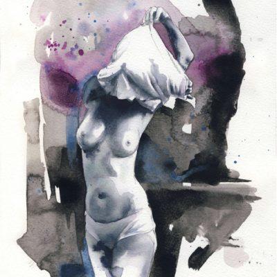 Glissement#2, 2015, aquarelle,30x21cm