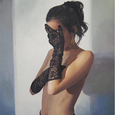 K. Bourdarel -Les gants#2-2016- Huile sur toile- 92x60cm