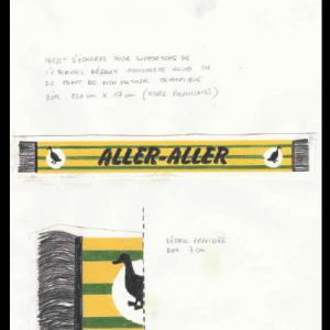 ALLER-ALLER (l'écharpe), technique mixte sur papier, 29,7 x 21 cm, 2014