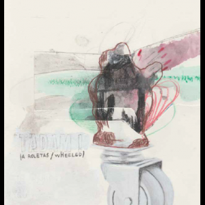 TADAM ! (a roletas/wheeled), technique mixte sur papier, 29,7 x 21 cm, 2017