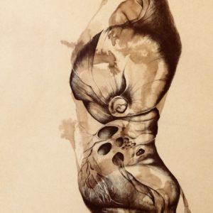 M. Fritchi-Roux - Encre et brou de noix sur papier huilé 110x75 cm