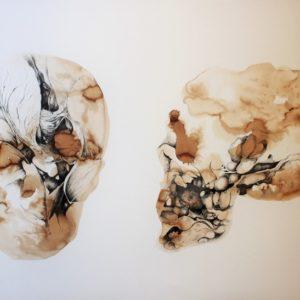 M. Fritchi-Roux - Vanité - brou de noix et encre - 110x75 cm