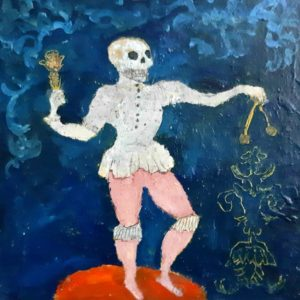 Bilboquet- peinture sur toile marouflée sur bois20x20