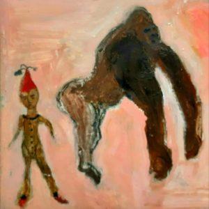 Deux figures- peinture mixte sur toile 20x20