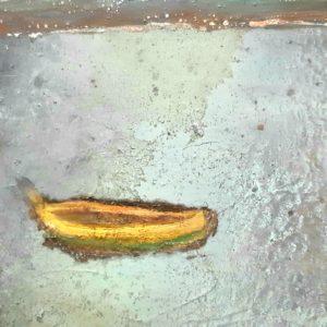 La barque- Peinture mixte marouflée sur bois 21x30