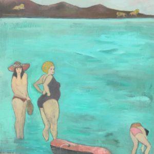 La plage- peinture mixte sur toile chassis- 110x145