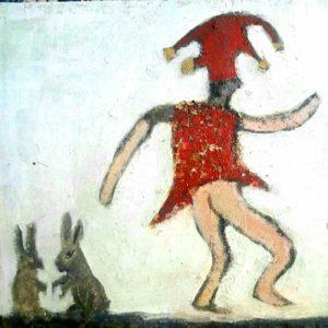 Le bouffon- peinture mixte marouflée sur bois 20x20