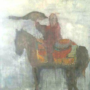 Le fauconnier - peinture mixte sur toile 120x160