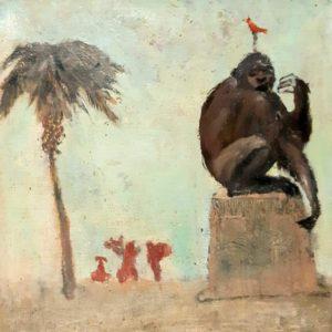Paysage- peinture sur toile marouflée sur bois 25x25