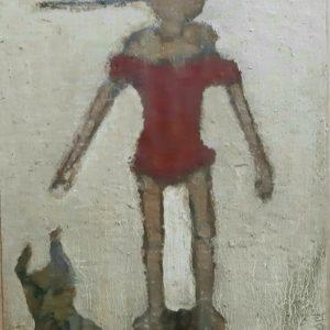 Pinocchio- peinture mixte sur toile marouflée sur bois 25x34