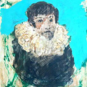 Portrait à la fraise- peinture mixte sur toile 6F